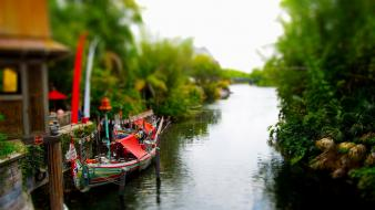 Water nature boats tilt-shift wallpaper