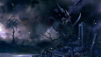 Wings dark grim reaper scythe weapons fantasy art Wallpaper