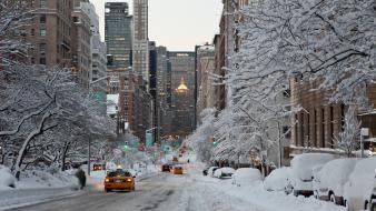 Winter snow new york city taxi cities wallpaper