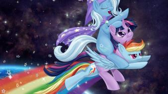 Wizard rainbow dash twilight sparkle riding trixie space wallpaper
