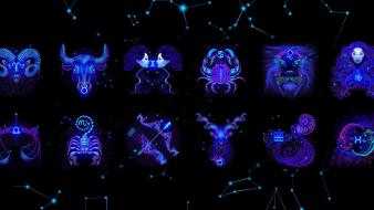 Abstract blue zodiac capricorn aries Wallpaper