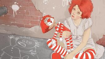 Artwork sitting dolls brick wall striped clothing wallpaper