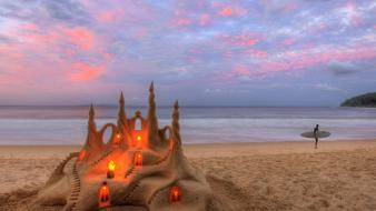 Beach castles sand australia surfers lighting castle Wallpaper