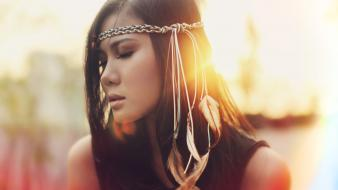 Brunettes women artistic feathers sunlight closed eyes wallpaper