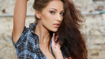 Brunettes women models anna sbitnaya faces ukrainian wallpaper
