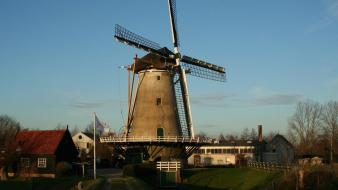 Cityscapes holland windmills wallpaper
