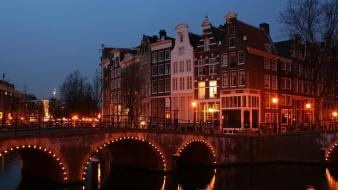 Cityscapes lights bridges holland amsterdam wallpaper