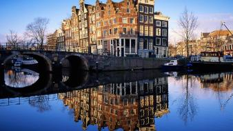 Cityscapes netherlands holland amsterdam reflections wallpaper