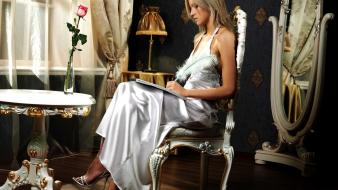 Feathers sitting white dress writing roses vase wallpaper