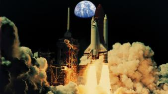 Fire smoke earth rockets space shuttle Wallpaper