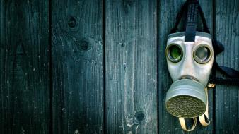 Green blue wood gas masks Wallpaper