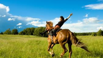 Landscapes horses horseback riding wallpaper