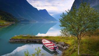 Landscapes norway boats western lakes rivers reflections wallpaper