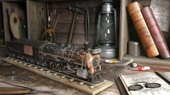 Miniature railroad tracks ink bookshelf railroads brushes wallpaper