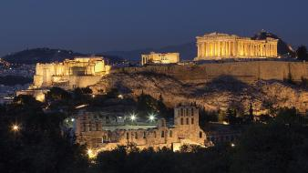 Night greece athens acropolis parthenon wallpaper