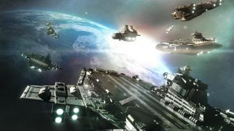 Outer space battleship wallpaper