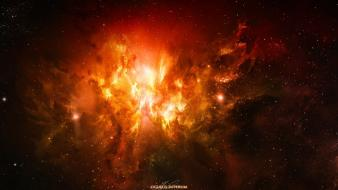 Outer space red fire artwork wallpaper
