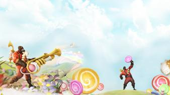 Rainbows trumpets team fortress 2 pyro candyland wallpaper