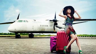 Snsd asians korean k-pop travel luggages hats wallpaper