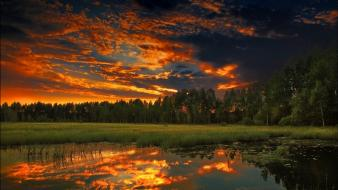 Sunset clouds landscapes nature forest lakes night sky wallpaper