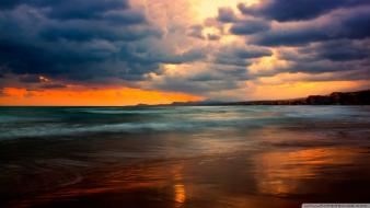 Sunset clouds nature beach seascapes sea Wallpaper