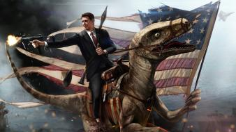 Velociraptor artwork ronald reagan riding redneck wilson wallpaper