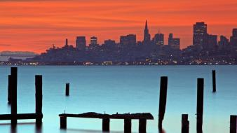 Water cityscapes pier california san francisco dusk Wallpaper