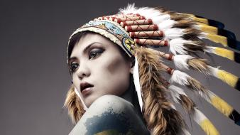 Women artistic fashion feathers head dress body painting Wallpaper
