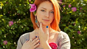 Women flowers redheads outdoors flower in hair wallpaper