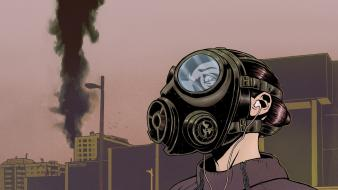 Women gas masks earphones artwork Wallpaper