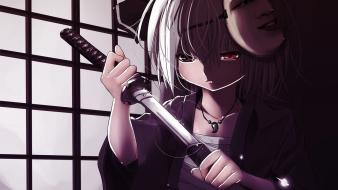 Youmu short hair white band swords ornaments Wallpaper