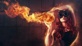 Abstract red fire redheads glasses creative wallpaper