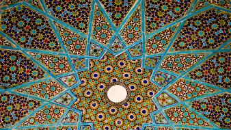 Architecture iran historical shiraz tomb of hafez ceiling wallpaper