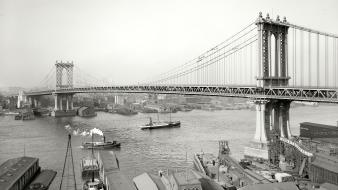 Boats grayscale historical manhattan bridge east river Wallpaper