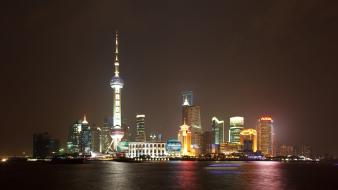 Buildings shanghai pudong oriental pearl tower sea Wallpaper