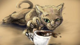 Cats animals drawings coffee cups paws wallpaper