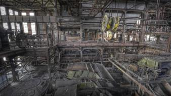 Cityscapes mine europe machinery abandoned factory wallpaper