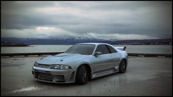 Clouds cars vehicles nissan skyline r33 sea wallpaper
