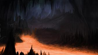Dark lava fantasy art wallpaper