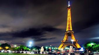 Eiffel tower paris night lights france wallpaper
