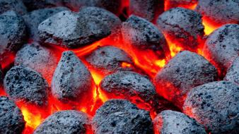 Fire glowing coal wallpaper