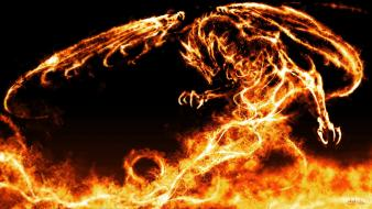 Flames wings black red dragons fire fantasy art Wallpaper
