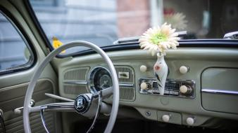 Flowers old cars interior volkswagen beetle wallpaper