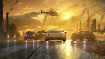 Helicopters cars police need for speed races wallpaper