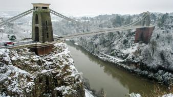 Landscapes england urban rivers bristol snowy road wallpaper