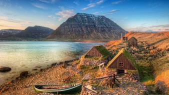 Mountains landscapes coast constructions Wallpaper