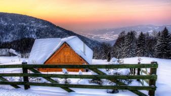 Mountains landscapes nature winter snow house protection wallpaper