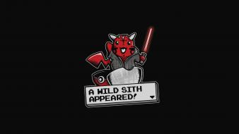 Movies pikachu darth maul simple black background wallpaper