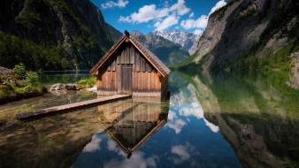 Nature germany houses bavaria rivers berchtesgaden obersee wallpaper