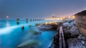 Ocean lighthouses cities wallpaper
